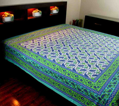 Cotton Floral Paisley Tapestry Tablecloth Coverlet Bedspread Full Aqua Green