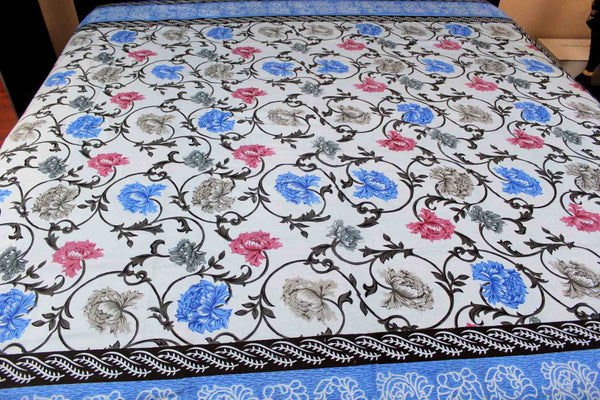 French Floral Print Tapestry Tablecloth Coverlet Bedspread
