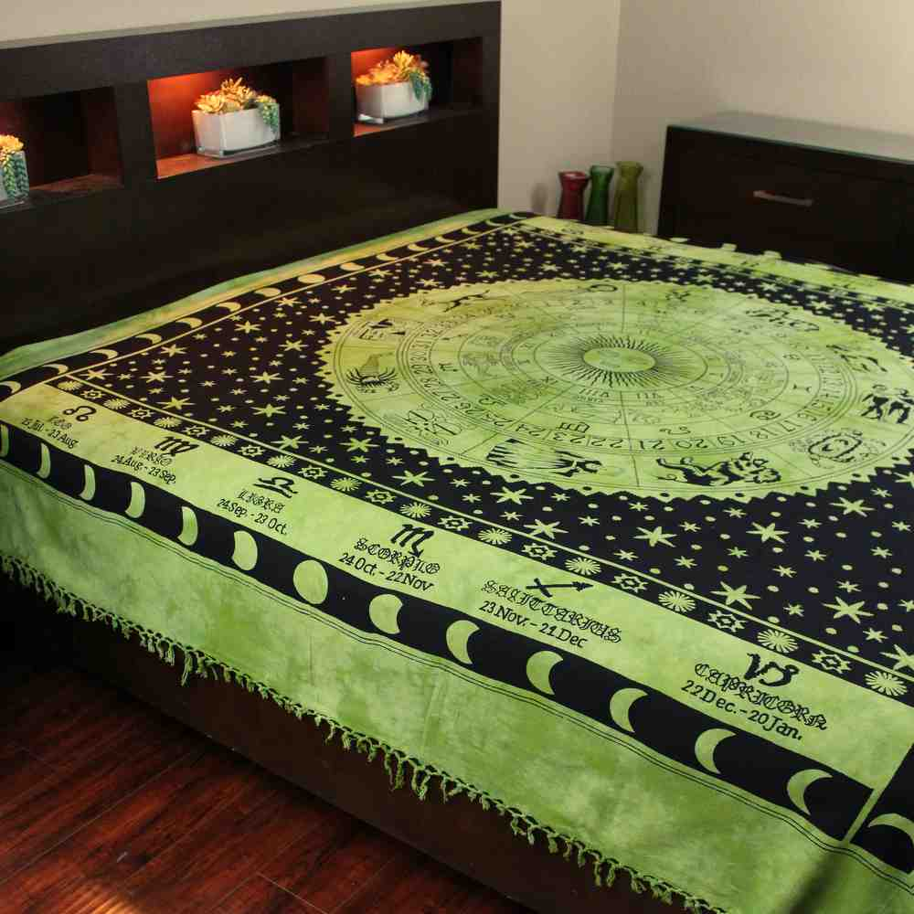 Handmade Cotton Astrological Tapestry Tablecloth Spread Zodiac Symbol Full Green