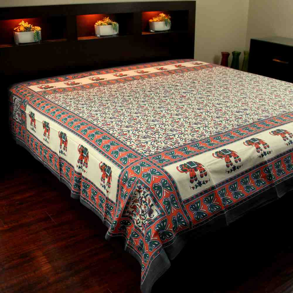 Floral Elephant Print Tapestry Bedspread Dorm Decor Beach Sheet Full Orange Gray