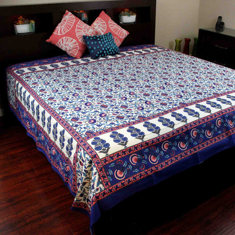 Floral Print Tapestry Spread Tablecloth Dorm Decor Beach Sheet Full Blue Orange - Sweet Us