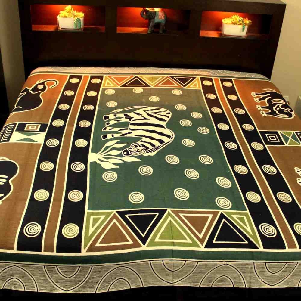 Cotton African Animal Print Tapestry Tablecloth Spread Beach Sheet Green Gold - Sweet Us