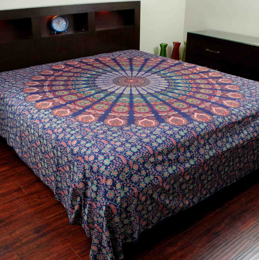 Floral Peacock Mandala Print Cotton Bedspread Tapestry Tablecloth Throw King - Sweet Us