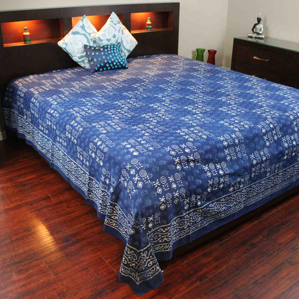Vegetable Dye Block Print Cotton Tapestry Spread 110x110 inches King Blue Black - Sweet Us