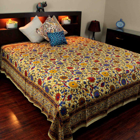 Handmade 100% Cotton Sunflower Tapestry Bedspread Tablecloth Lemon Yellow Twin Full Queen King - Sweet Us