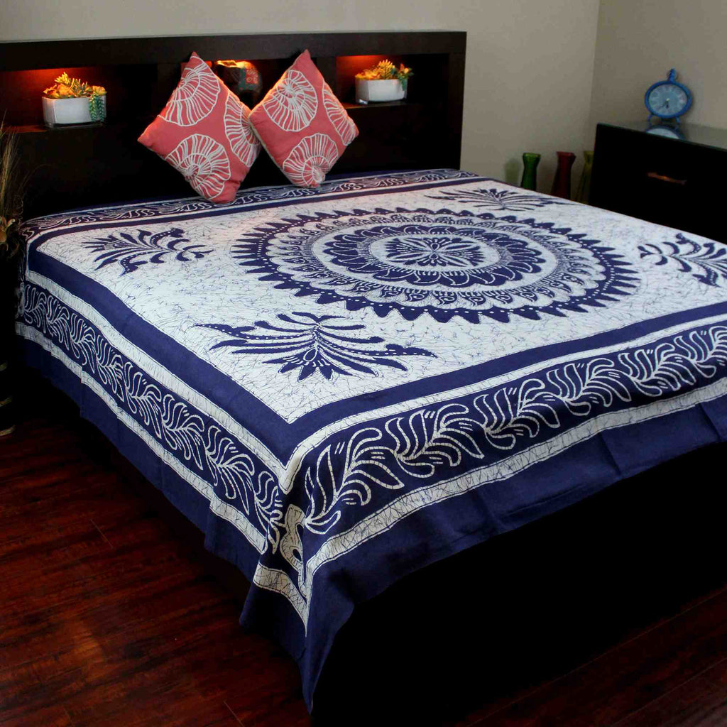 Cotton Batik Mandala Tapestry Wall Hanging Bedspread Twin Full King Blue