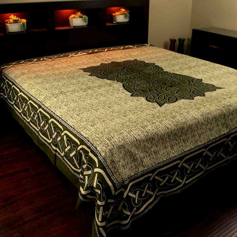Cotton Celtic Tapestry Circle Bedspread Queen 106 x 106 inches Olive Green