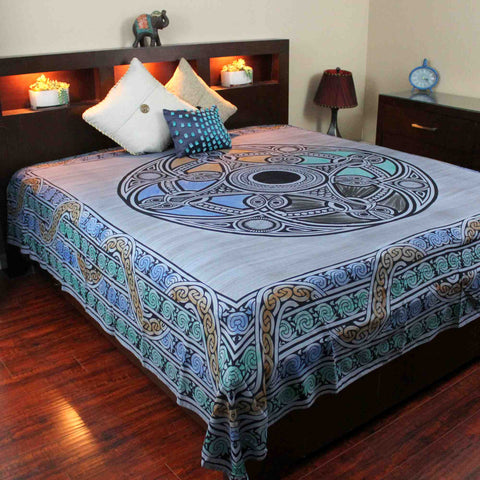 Celtic Wheel of Life Cotton Tapestry Bedspread Coverlet Blue Twin Full Queen - Sweet Us