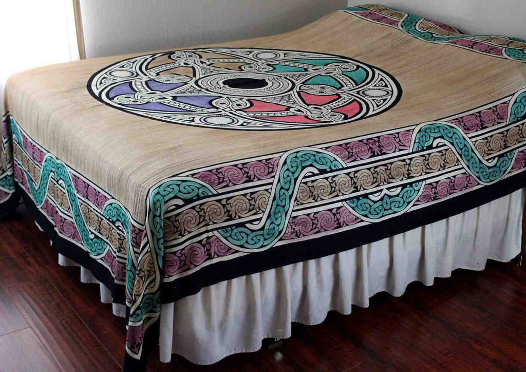 Celtic Tapestry, Celtic Bedspread Queen, Thin Cotton Throw Beach Blanket Tan Queen