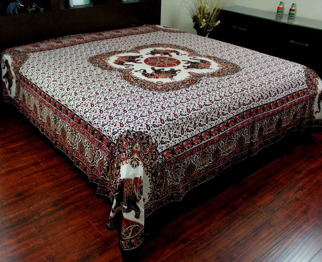 Elephant Mandala Print Tapestry Tablecloth Bedspread Picnic Blanket Cotton Queen 106x106 Inches Red - Sweet Us