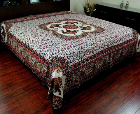 Elephant Mandala Print Tapestry Tablecloth Bedspread Picnic Blanket Cotton Queen 106x106 Inches Red