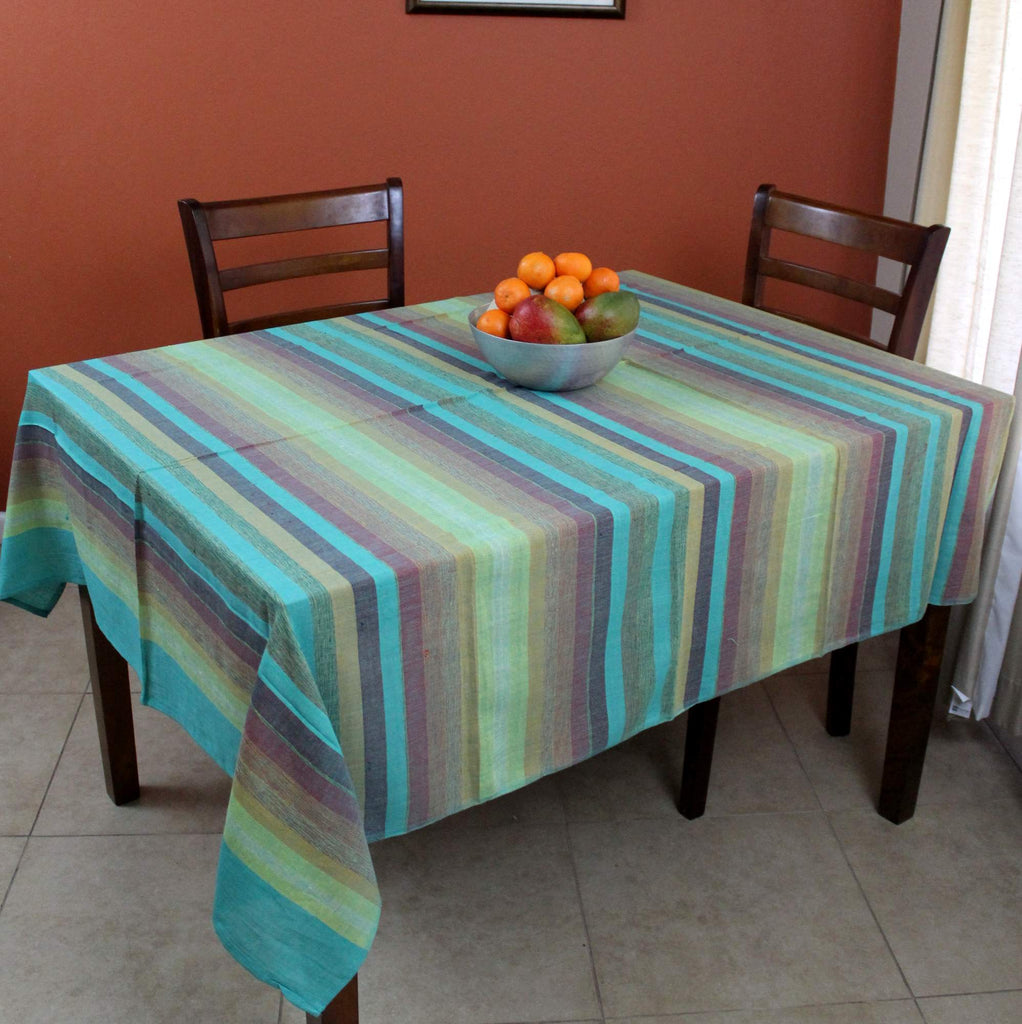 Hand loom Cotton Stripe Tablecloth Bedspread Tapestry Throw Green Twin Full Light Weight - Sweet Us