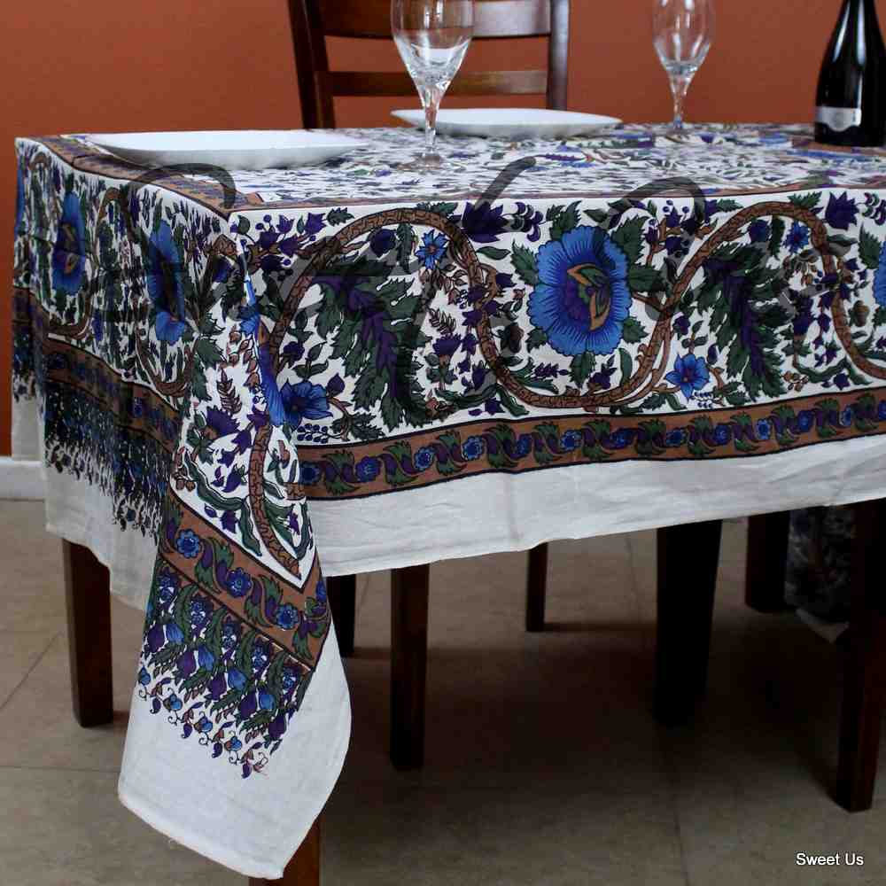 Cotton Tree of Life Floral Tablecloth Rectangle 70x104 White Blue Purple Green