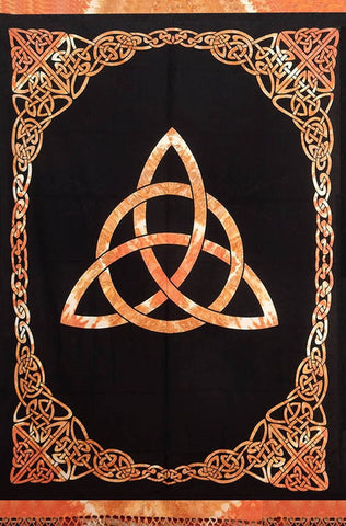 Celtic Tie Dye Trinity Knot Cotton Tapestry Bedspread Amber Twin & Full