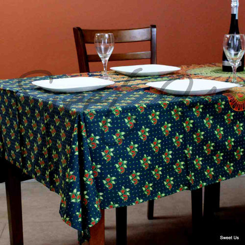 Cotton Peacock Mandala Floral Tablecloth Rectangle 68x102 Green Gold Orange