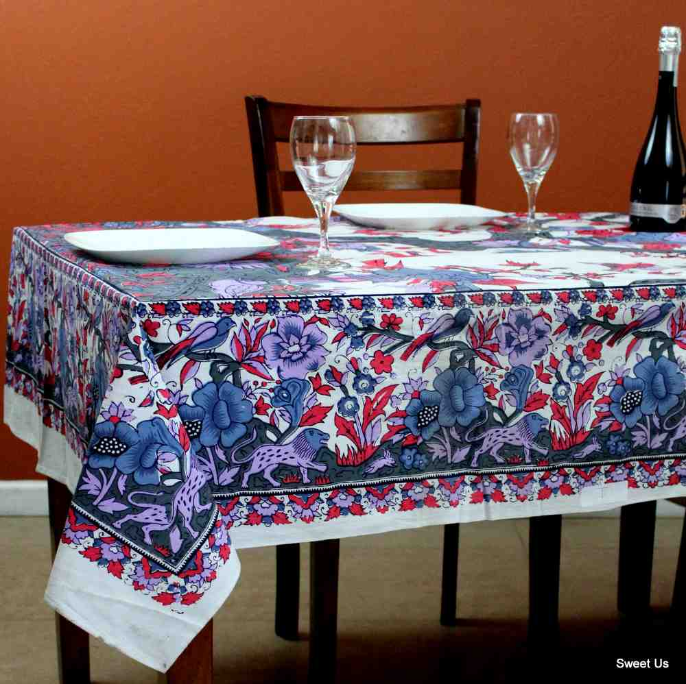 Cotton Tree of Life Floral Tablecloth Rectangle White Gray Blue Purple