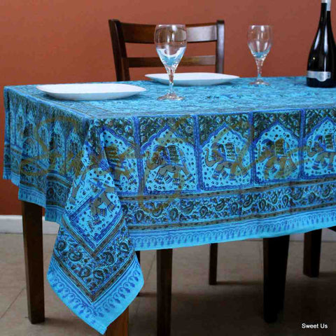 Cotton Elephant Paisley Floral Tablecloth Rectangle Bed sheet Full Turquoise Blue