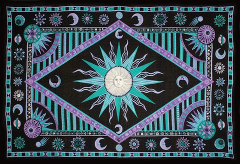 Handmade Cotton Celestial Sun Moon Star Tapestry Spread Twin Purple Green 70x104 - Sweet Us