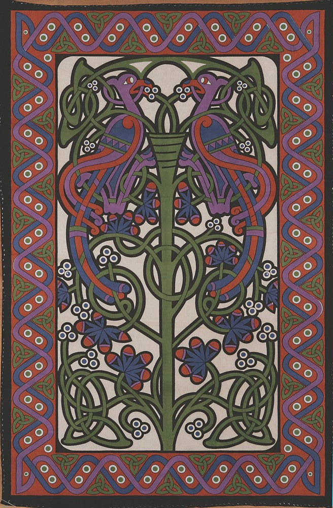 Handmade 100% Cotton Celtic Knot Parrot Tapestry Tablecloth Spread Full 88x106 - Sweet Us