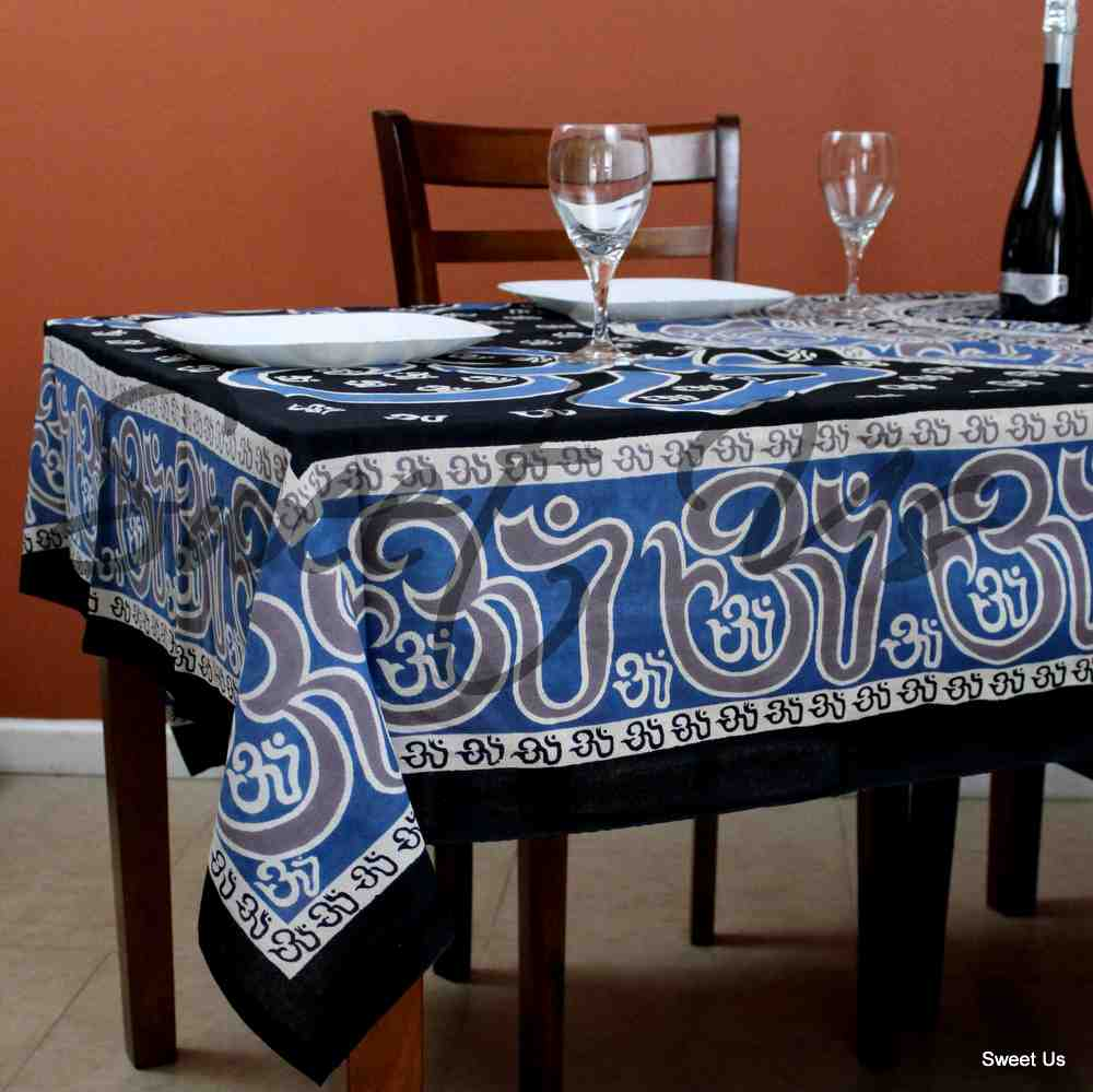 Mandala Om Print Tablecloth Rectangle Blue Black Brown White for Meditation Yoga