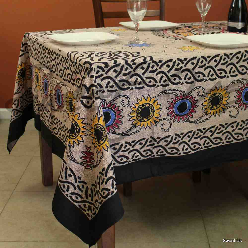 Cotton Celtic Sunflower Tablecloth Rectangle Beige Gold Red Blue Yellow Bed sheet