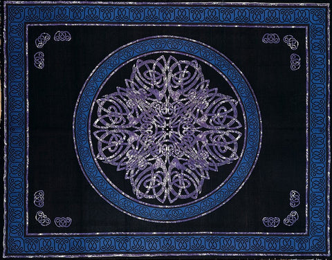Handmade Cotton Celtic Circle Wheel Of Life Tapestry Spread Twin Purple Black - Sweet Us