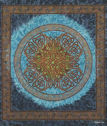 Cotton Celtic Tapestry Circle Tie-Dye Bedspread Queen 106x106 inches Blue Purple