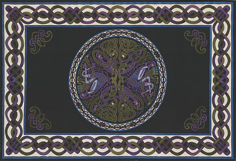 Handmade 100% Cotton Celtic Wheel of Life Tapestry Bedspread Black Purple Twin - Sweet Us
