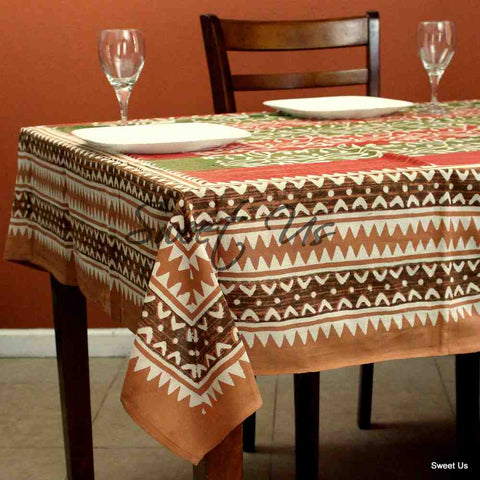 Cotton Dabu Floral Vine Tablecloth Rectangle 70x98 Rust Olive Green