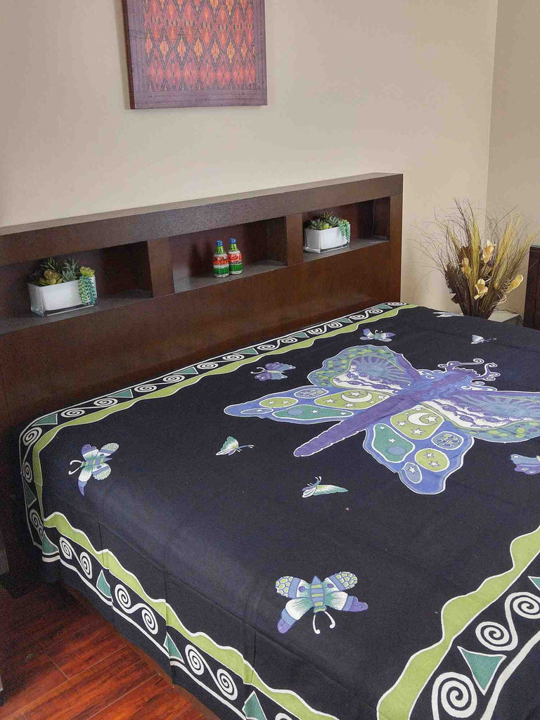 Handmade Cotton Hand Block Print Butterfly Bedspread Coverlet Bed Sheet Tapestry Tablecloth Twin Black - Sweet Us