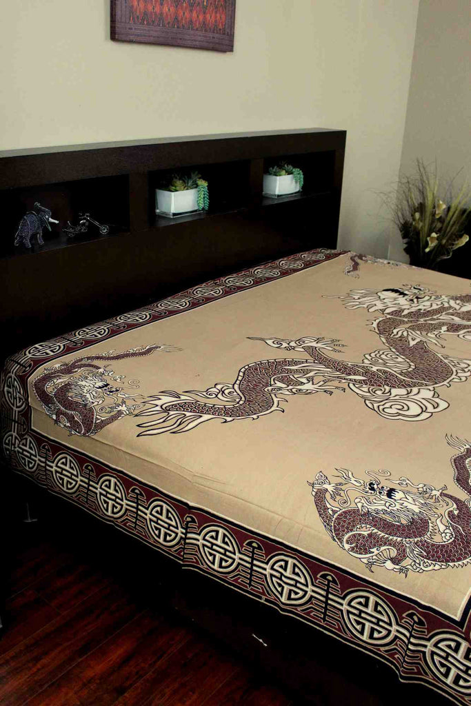Handmade Cotton Asian Dragon Tapestry Tablecloth Coverlet Bedspread Full 88x104 - Sweet Us