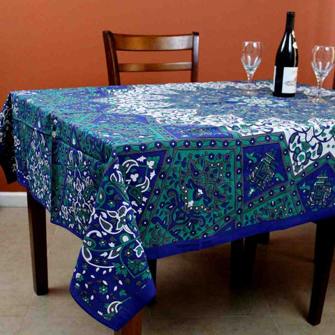 Cotton Elephant Star Floral Paisley Tablecloth Rectangular Blue Green Burgundy