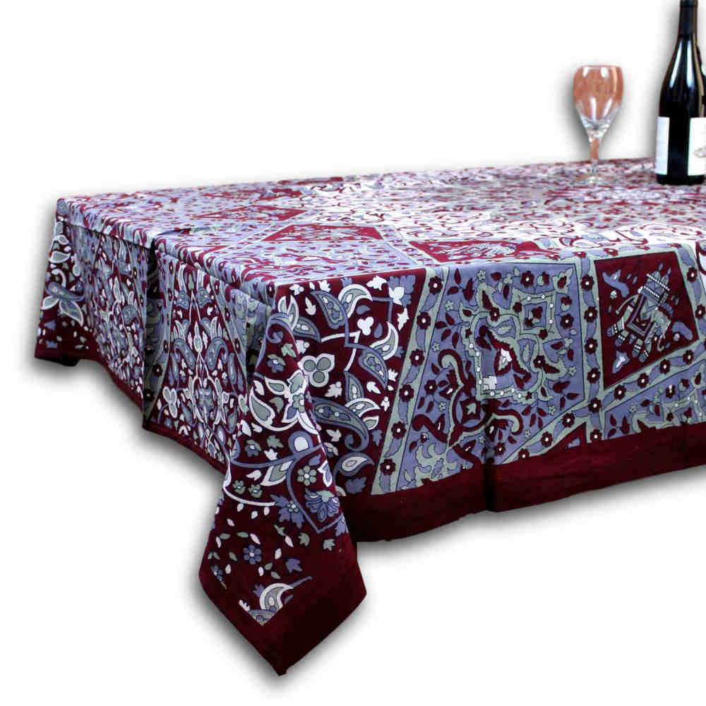 Cotton Elephant Star Floral Paisley Tablecloth Rectangular Blue Green Burgundy - Sweet Us
