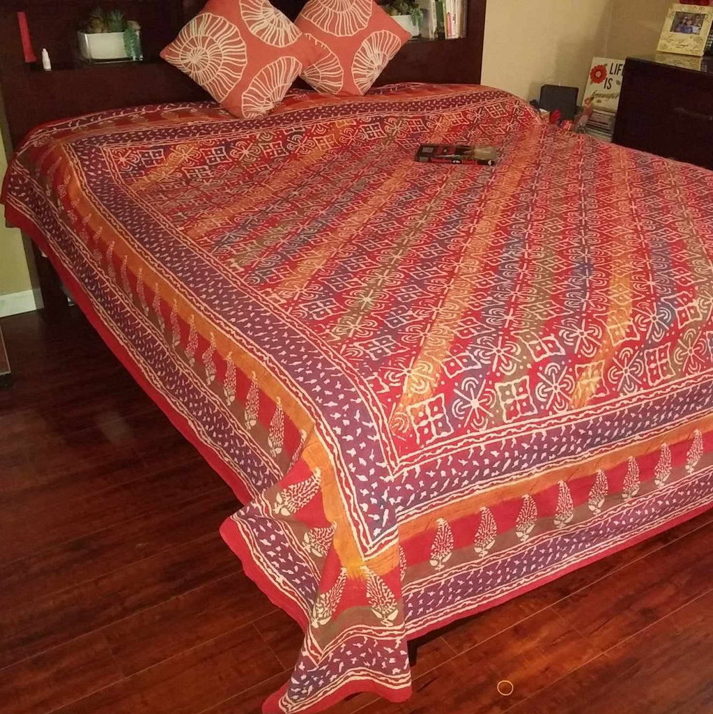 Handmade Cotton Hand Block Print Dabu Floral Tapestry Tablecloth Bedspread Queen - Sweet Us