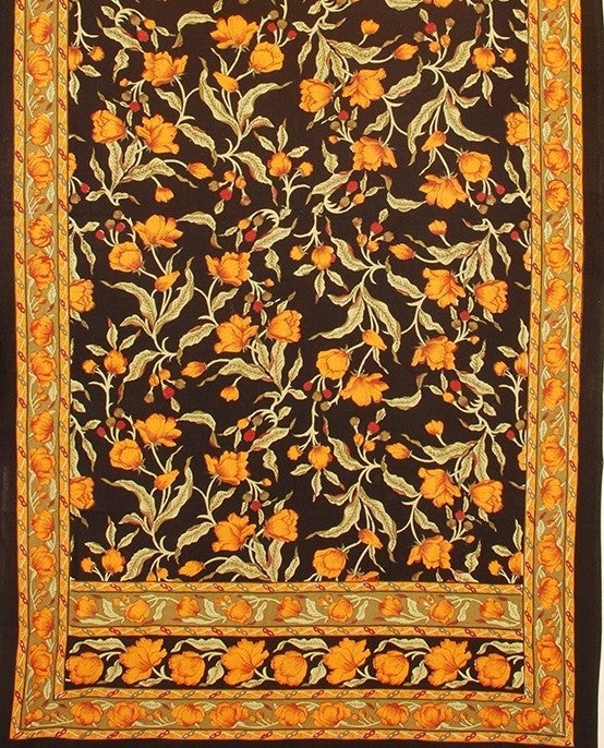 "Handmade 100% Cotton Floral Print Tablecloth Tapestry Coverlet Spread 70""x106"" Black Amber - Sweet Us"