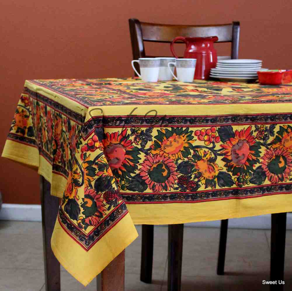 Cotton French Floral Tablecloth Rectangle Orange Blue Yellow Kitchen Dining Linen