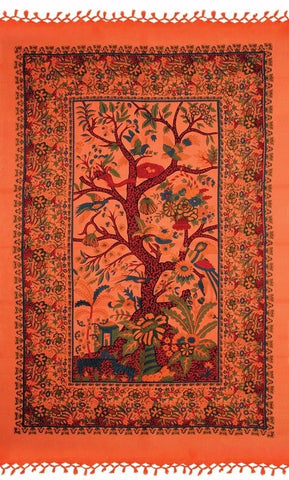 Handmade Cotton Tree of Life Tapestry Wall Hang 85x55 inches Orange & Purple Tablecloth Beach Sheet - Sweet Us