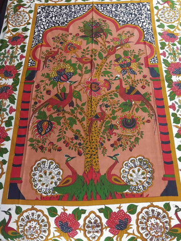 Cotton Tree of Life Floral Tapestry Peacock Tablecloth Rectangular Red Green - Sweet Us