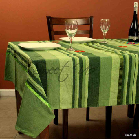 Heavy Cotton Striped Ribbed Floral Tablecloth Rectangle Yellow Green