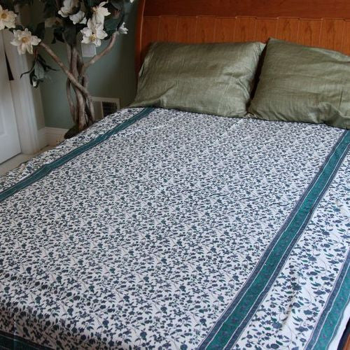 Handmade 100% Cotton Floral Vine Tapestry Tablecloth Spread Blue Twin 70x106 - Sweet Us