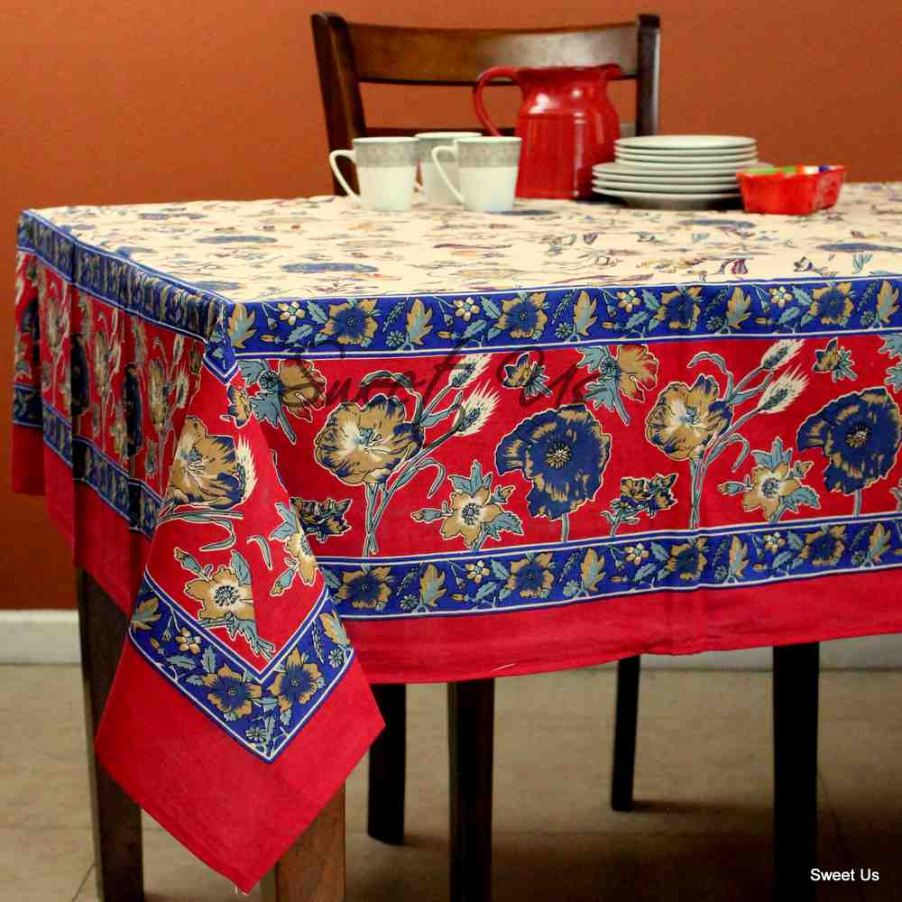 Cotton Floral Tablecloth Rectangle 70x104 Red Gold Blue Kitchen Dining Linen