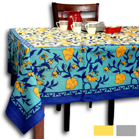Cotton Floral Tablecloth Rectangle 70x104 Blue Gold Gray Kitchen Dining Linen