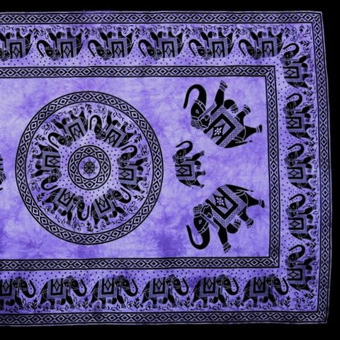 Handmade 100% Cotton Mandala Elephant Tapestry Tablecloth Coverlet 60x90 Purple