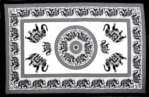 Handmade 100% Cotton Mandala Elephant Tapestry Tablecloth Coverlet Bedspread Beach Sheet Dorm Decor 60x90 White Black - Sweet Us
