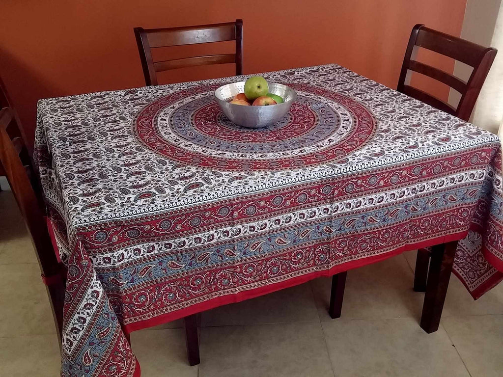 Handmade 100% Cotton Paisley Mandala Tapestry Tablecloth Coverlet 87x90 Red Grey - Sweet Us