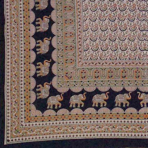 Handmade 100% Cotton Mandala Elephant Tapestry Tablecloth Coverlet Twin Earthy