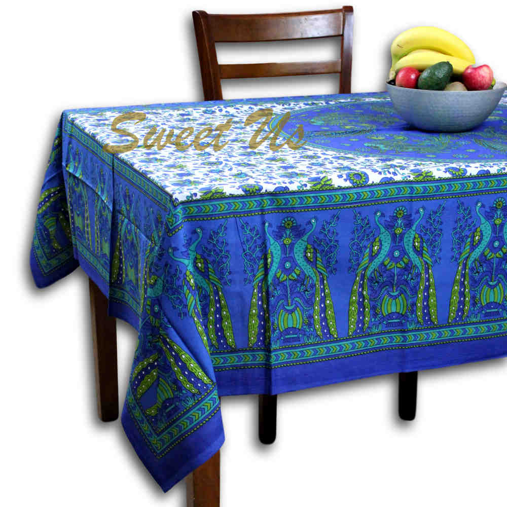 Cotton Floral Peacock Tablecloth Rectangle Square Table Cloth Blue Green - Sweet Us