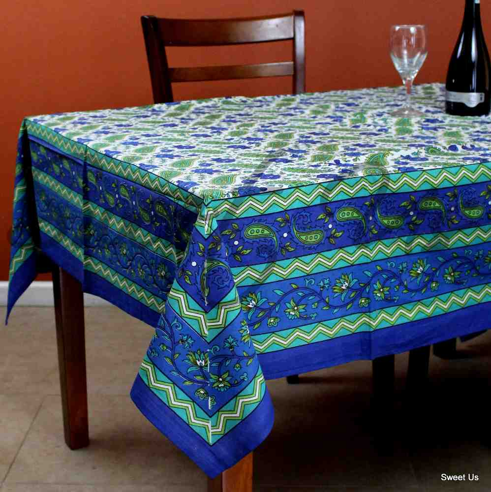 Cotton Floral Paisley Blue Green Tablecloth Rectangle 64x90 for Kitchen Dining - Sweet Us