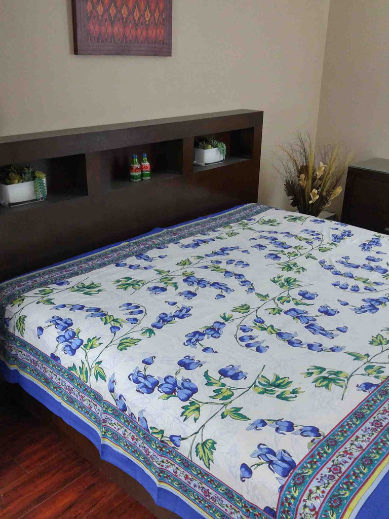 Handmade 100% Cotton French Floral Print Tapestry Tablecloth Coverlet Twin & Full Blue - Sweet Us
