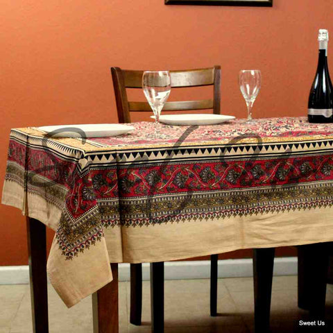 Cotton Floral Tablecloth Rectangle Red Gold Gray Black Tan